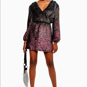 NWT Topshop ombré sequin long sleeve mini dress